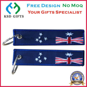 Fashion Polyester Logo Customzied Embroidered Navy Keychain pictures & photos