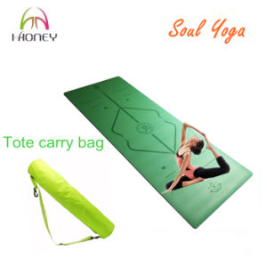 PU Natural Rubber Alignment Yoga Mat Superior Grip and Absorbent pictures & photos