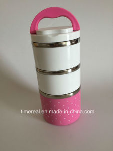 Stainless Steel 3 Layers Lunch Box with Handle Xg-005 pictures & photos