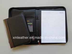 A4 Zip Faux Leather Notepad Portfolio File Folder with Calculator pictures & photos
