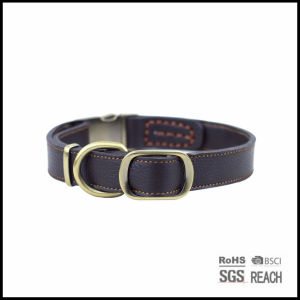 Custom Luxury Adjustable Leather Pet Dog Collars with Gold Buckle pictures & photos