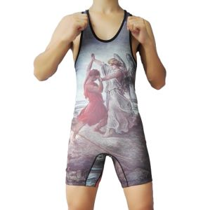 2017 Custom Men′s Lycra Wrestling Singlet pictures & photos