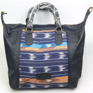 Women Fashion PU Handbag with Contrast Color Fabric on Front Fashion Accessory pictures & photos