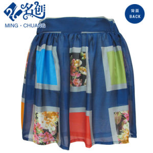 Mixed-Color Big-Plaid Pattern Pleated Fashion Ladies Skirt pictures & photos