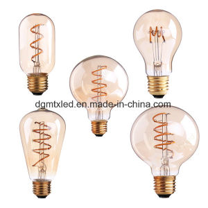 MTX LED bulb A19 T45 ST64 G80 G95, Amber Glass, 3W Dimmable Edison Spiral Filament LED Bulb, Super warm 2200K, E26 E27 Base, Decorative Household bulb pictures & photos