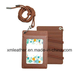 Leather ID Badge Case Credit Card Holder with Neck Strap pictures & photos