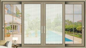 Aluminum Single Glass Door Design Sliding Glass Door with Grills pictures & photos