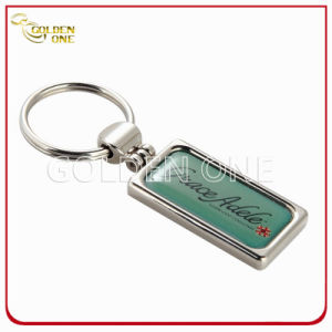 Rectangular Shape Personalized Soft Enamel Metal & Leather Key Chain pictures & photos