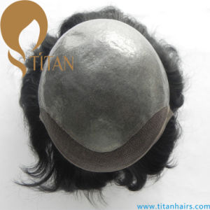 Top Quality 100% Remy Human Hair Toupee with Thin Skin Lace Frontal pictures & photos