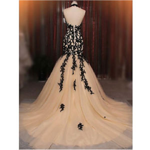 2017 Formal Evening Dress Fit & Flare Halter Court Train Lace / Tulle with Appliques / Lace (Dream-100099) pictures & photos