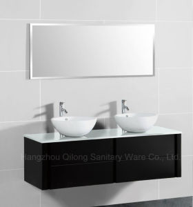MDF Glass Worktop Bathroom Cabinet with Ceramic Basin pictures & photos