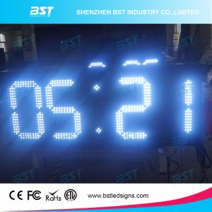 White Colour Large Digital LED Wall Clock for Outdoor pictures & photos