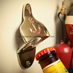 Custom Gold Beer Brushed Metal Wall Mounted Bottle Opener pictures & photos