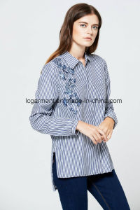 Wholesale Spring Latest Fashion Cutting Blouse Embroidered Navy Blue Stripe Shirt pictures & photos