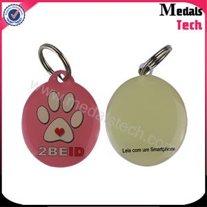 Paw Imprint Anodised Silver Pet Tag with 25mm Keyring pictures & photos