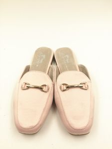 Pink Satin Upper Real Leather Lining Sock Falt Heel Slipper for Women pictures & photos
