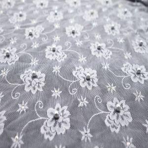 Latest Design Lace Fabric with Diamond