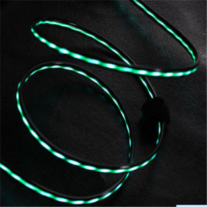DC5V 2A Fast Charging TPE Micro USB Data Cable with LED Flowing Light pictures & photos