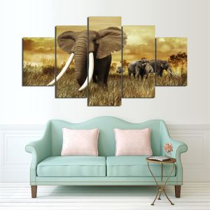 HD Printed Elephant Painting Group Painting Canvas Print Room Decor Print Poster Picture Canvas Ym-013 pictures & photos