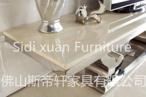 High Gloss Modern Stainless Steel Frame TV Stand Tempered Glass on Top TV Table pictures & photos