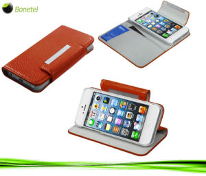 Leather Wallet Kickstand and Screen Protector for iPhone 5 -Orange