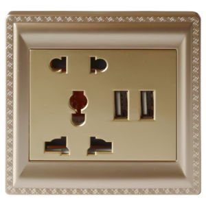 13A Multifunctional Electrical Socket with USB Charger (UK/AUS/EUR)