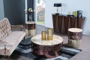 Rose Gold Stainless Steel Coffee Table with Marble Top pictures & photos