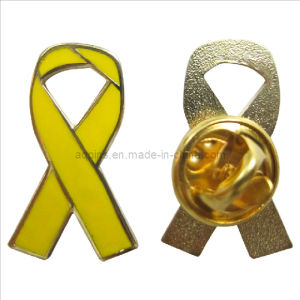 Wholesale Price Hard Enamel Yellow Awareness Ribbon Pin Badge (badge-101) pictures & photos