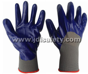 Nylon Knitted Working Gloves, 3/4 Coated with Smooth Nitrile (N1556) pictures & photos