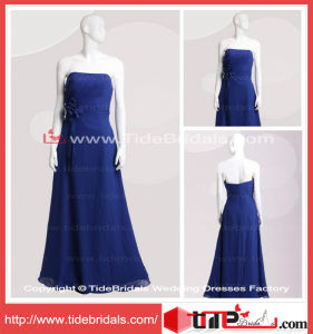 Wedding Party Gown Royal Blue Square Long Chiffon Bridesmaid Dress (TC06629)