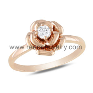 Hot Sale Rose Design Clear Cubic Zirconia 925 Silver Ring
