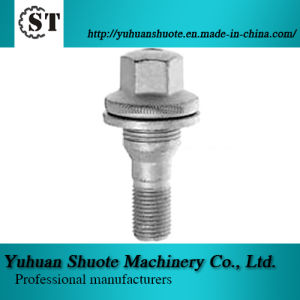 Flat Seat Alloy Wheel Bolts with Washer, 17/19mm Hex, Made of Carbon or Alloy Steel, Chrome-Plated
