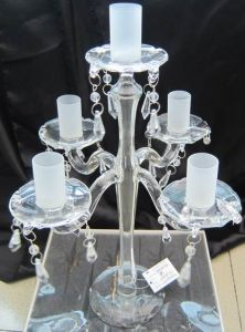 Clear Glass Candle Holder for Wedding Decoration with Five Frosting Posters pictures & photos