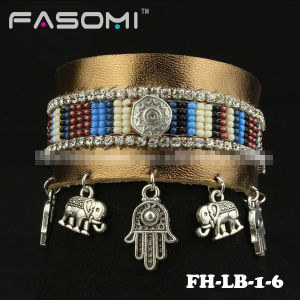 Fashion Magnetic Closures Genuine Leather Bracelets with Charms