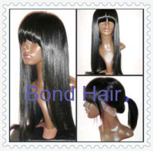 Brazilian Remy Human Hair Full Lace Wigs with Bangs pictures & photos