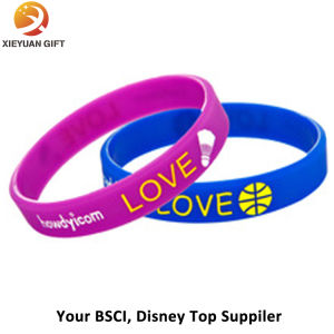 Embossed Wristband Customize Silicone Bracelet 3D Gold Supplier pictures & photos