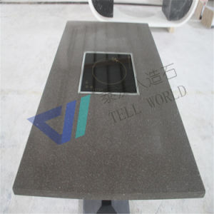 Modern Design Artificial Stone Restaurant Hot Pot Table Dining Table Set pictures & photos
