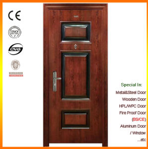 Wood Grain Veneer Exterior Steel Security Door pictures & photos