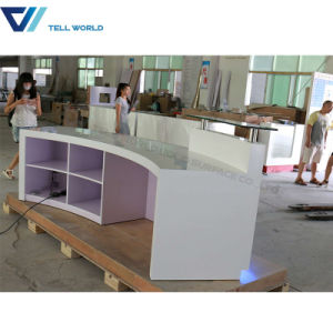 2017 Luxury Office Counter Table Curved Reception Desk pictures & photos