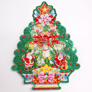 Customized 3D Christmas Tree Ornament Window Glitter Stickers pictures & photos