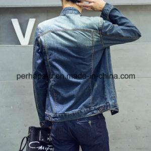Men′s Fashion Denim Jacket Blue Splice Denim Coat pictures & photos