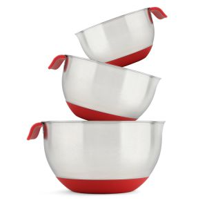 18/10 Stainless Steel Mixing Bowls with Handle and Spout, Set of 3 (Red) pictures & photos