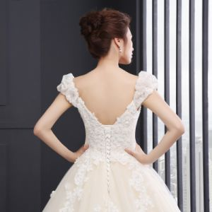 V-Neck Cap Sleeve Appliques Wedding Dress (SLD044) pictures & photos