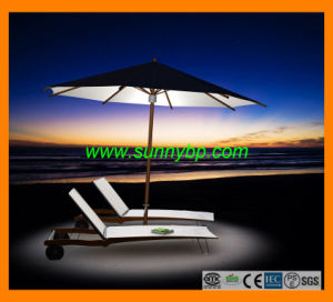 Deluxe Foldable Solar Beach Umbrella with LED Lighting pictures & photos