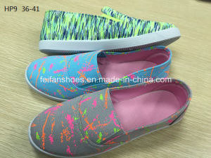 Latest Cheap Fashion Lady Casual Shoes Injection Sports Printing Canvas Shoes (HP9) pictures & photos