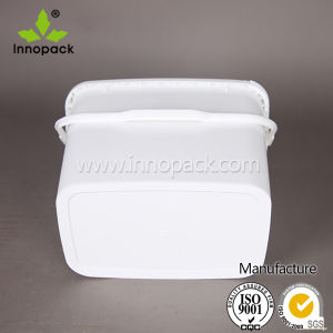 9L Customized White Rectangular Plastic Bucket with Plastic Lid and Handle pictures & photos