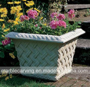 Hand Carved White Marble Flower Pot for Sale pictures & photos
