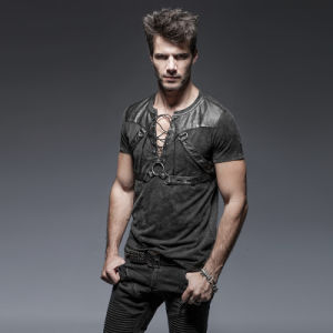 T-424 Punk Black Soilder Short Man Open Collar Cottont-Shirts pictures & photos