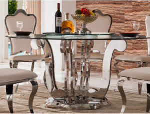Two Layers Stainless Steel Glass Dining Table with Chair (SDT-015)