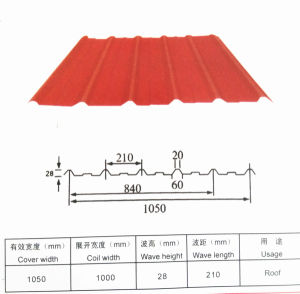 1050mm Corrugated Steel Roof Tile with Certificate